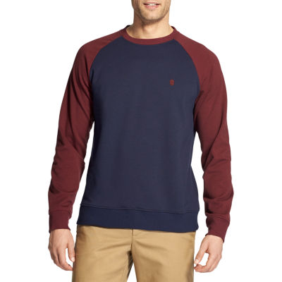 IZOD Advantage Raglan Color Block Crew Mens Crew Neck Long Sleeve Sweatshirt Big and Tall