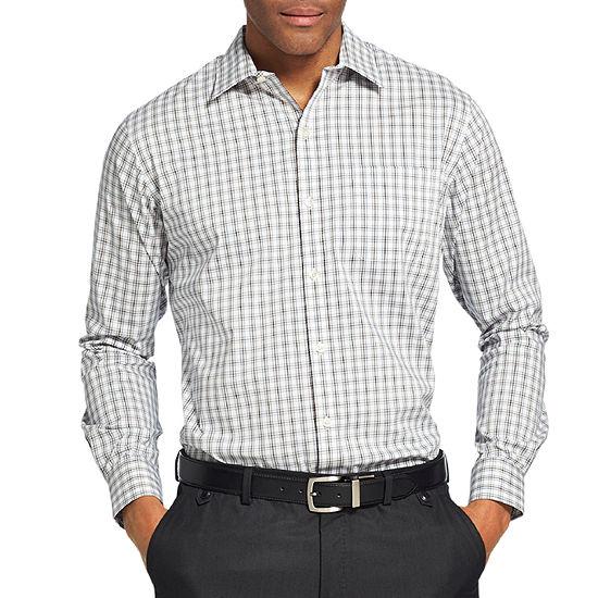 Van Heusen Big and Tall Traveler Performance Non-Iron Woven Mens Long Sleeve Checked Button-Front Shirt
