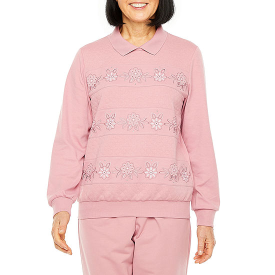 Alfred Dunner All About Ease Womens Long Sleeve Sweatshirt
