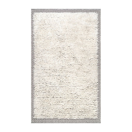 nuLoom Moroccan Diamond Shearer Shaggy Area Rug, One Size , White