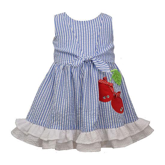 Bonnie Jean Cherry Applique Baby Girls Sleeveless Sundress