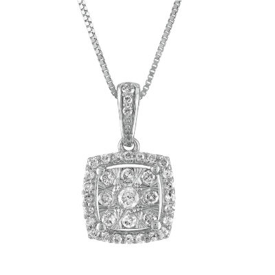 Diamond Blossom Womens 1/4 CT. T.W. Genuine Diamond 10K White Gold Pendant Necklace