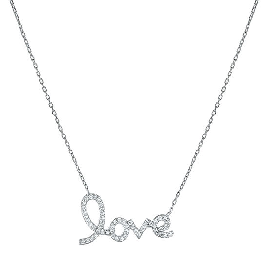 "DiamonArt® ""Love"" Womens White Cubic Zirconia Sterling Silver Pendant Necklace"