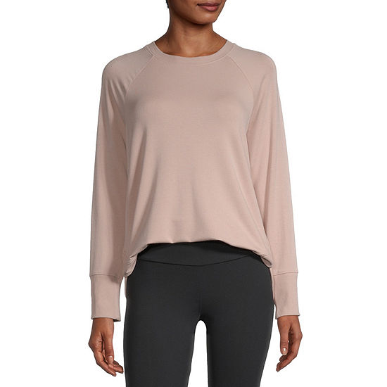 Stylus Shirttail Womens Crew Neck Long Sleeve Sweatshirt