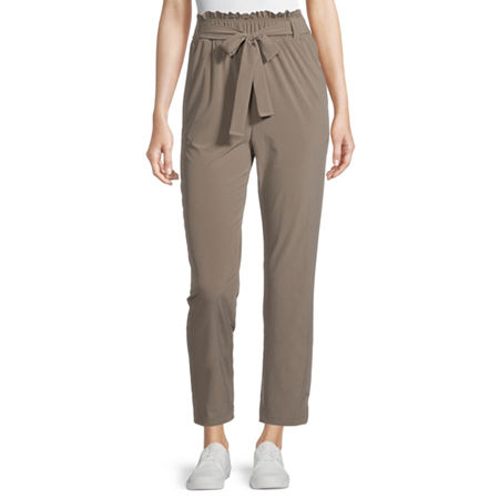 Stylus Paperbag Waist Loose Fit Tapered Trouser, Small , Beige