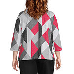 Alfred Dunner Plus Knightsbridge Station Womens Round Neck 3/4 Sleeve T-Shirt