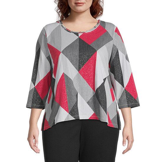 Alfred Dunner Plus Knightsbridge Station Womens Round Neck 3/4 Sleeve T-Shirt