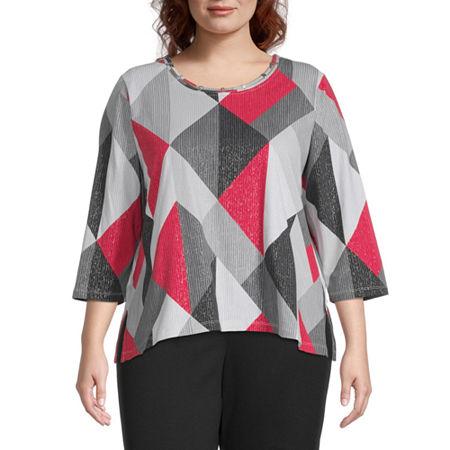 Alfred Dunner Plus Knightsbridge Station Womens Round Neck 3/4 Sleeve T-Shirt, 2x , Black