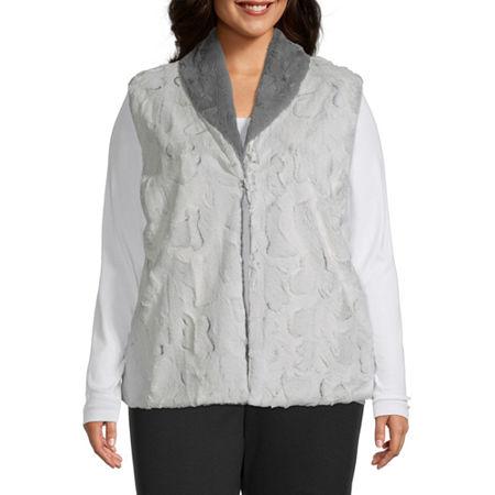 Alfred Dunner-Plus Knightsbridge Station Womens Vest, 2x , Gray