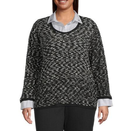 Alfred Dunner Knightsbridge Station Womens Long Sleeve Layered Sweaters-Plus, 2x , Black