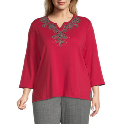Alfred Dunner-Plus Knightsbridge Station Womens Split Crew Neck 3/4 Sleeve Knit Embroidered Blouse