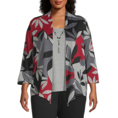 Alfred Dunner Knightsbridge Station Womens Scoop Neck 3/4 Sleeve Layered Top-Plus