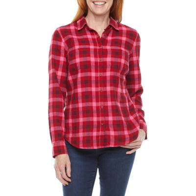 St. John's Bay Womens Long Sleeve Regular Fit Button-Down Shirt