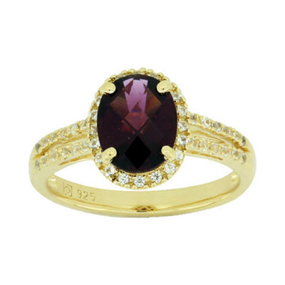 Genuine Garnet & Lab-Created White Sapphire Ring