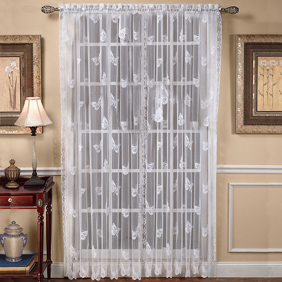 Butterfly Lace Rod Pocket Curtain Panel