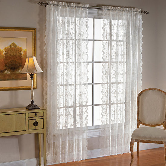 Saturday Knight Petite Fleur Sheer Rod-Pocket Single Curtain Panel
