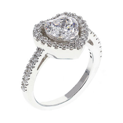 DiamonArt® Cubic Zirconia Sterling Silver Heart Halo Ring