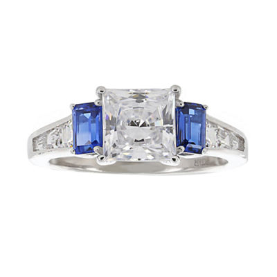 DiamonArt® Cubic Zirconia & Simulated Blue Sapphire 3-Stone Ring