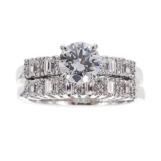 DiamonArt® Cubic Zirconia Sterling Silver Bridal Ring Set