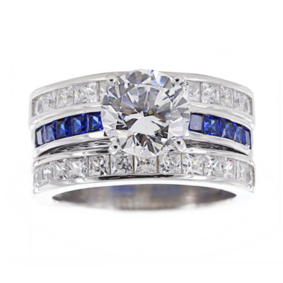 diamonart cubic zirconia simulated blue sapphire bridal ring and guard - Jcpenney Wedding Ring Sets