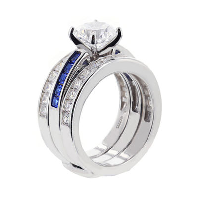 DiamonArt® Cubic Zirconia & Simulated Blue Sapphire Bridal Ring and Guard