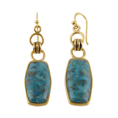 Art Smith by BARSE Genuine Turquoise Brass Earrings