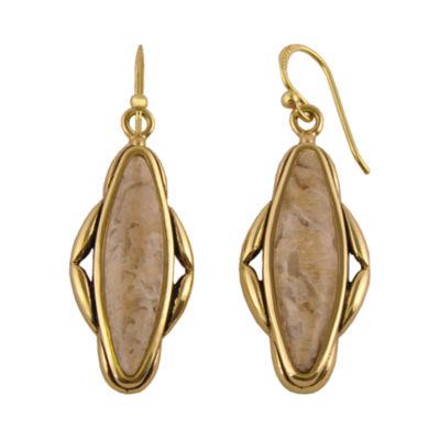 Artsmith By Barse Brown Brass Oblong Drop Earrings