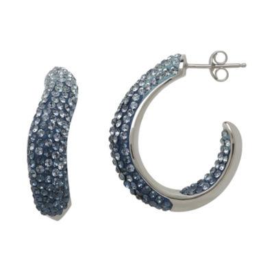 Blue Crystal Sterling Silver Hoop Earrings