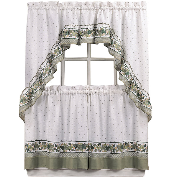 Cottage Ivy 3-pc. Rod-Pocket Kitchen Curtain Set