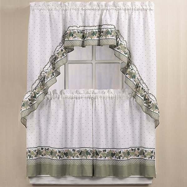 Hamilton 3 Piece Kitchen Curtain Set Available In 4: Cottage Ivy 3 Pc Kitchen Curtain Set