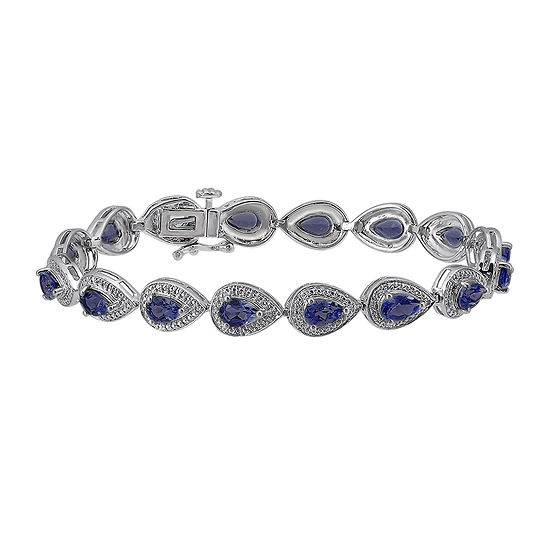 Lab-Created Blue Sapphire and Diamond-Accent Sterling Silver Bracelet