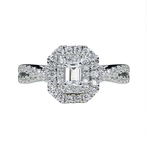 Modern Bride® Signature 1 CT. T.W. Diamond 14K White Gold Emerald-Cut Bridal Ring