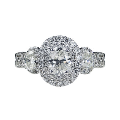 Modern Bride® Signature 1¾ CT. T.W. Diamond 14K White Gold Oval 3-Stone Bridal Ring