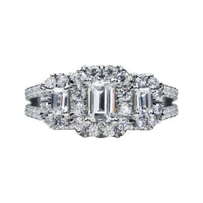 Modern Bride® Signature 2 CT. T.W. Diamond 14K White Gold Emerald-Cut 3-Stone Bridal Ring