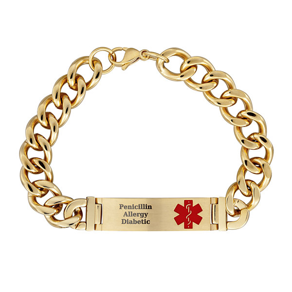 Personalized Gold-Tone IP Stainless Steel Men's Engraved Medical ID Bracelet