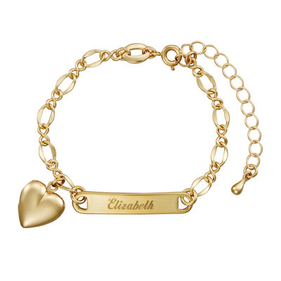 Personalized 14K Yellow Gold Over Brass Girls Engraved ID ... Gold Charm Bracelets For Girls