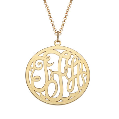 Personalized 25mm Circle Vine Monogram Pendant Necklace