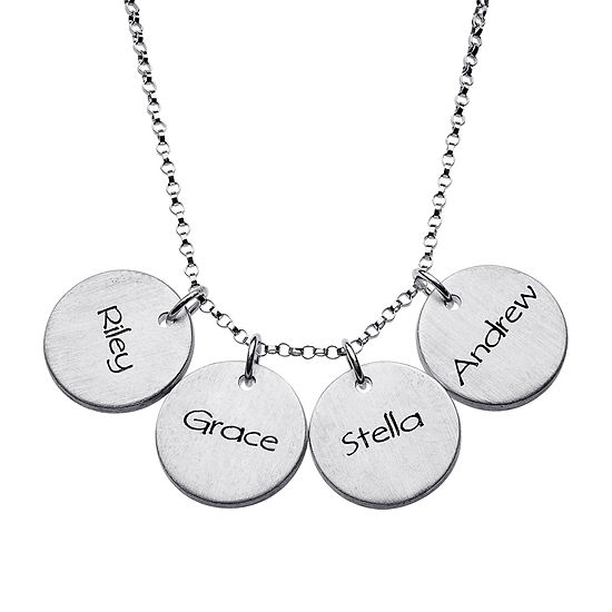 Personalized Sterling Silver Mini Engraved Name Four Disc Pendant Necklace