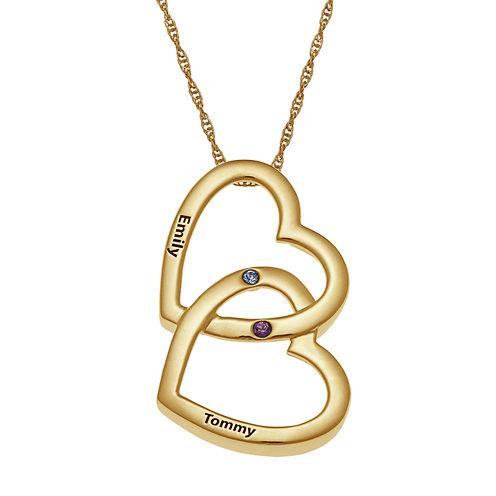 Personalized Birthstone Locking Hearts Pendant Necklace