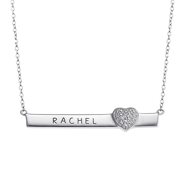 Personalized Engraved Bar with Diamond Accent Heart Necklace