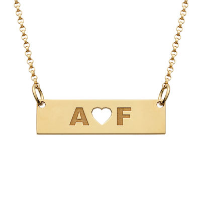 Personalized 18K Yellow Gold over Silver Two Initials with Heart Bar Necklace