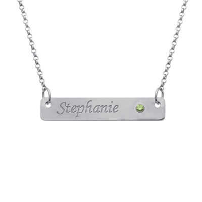 Personalized Birthstone Engraved Bar Name Necklace