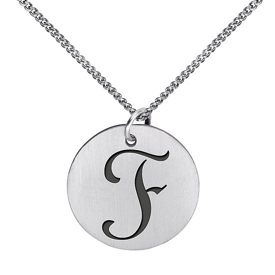 Personalized Sterling Silver Initial 15mm Disc Pendant Necklace
