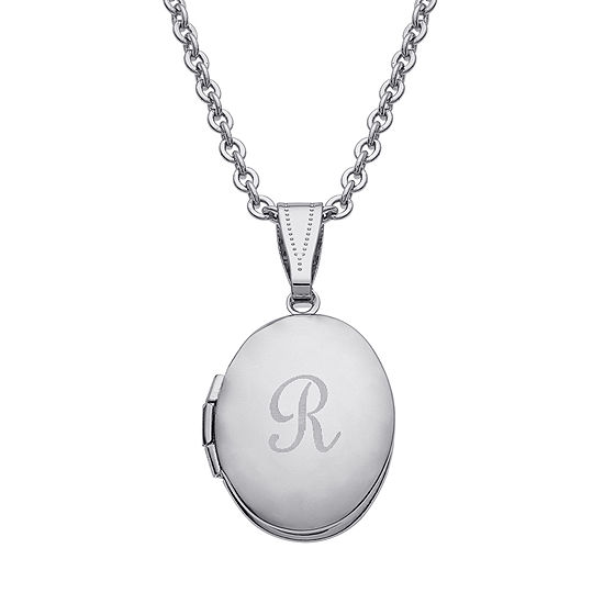 Personalized Silver Over Brass Child's Engraved Initial Locket Pendant Necklace