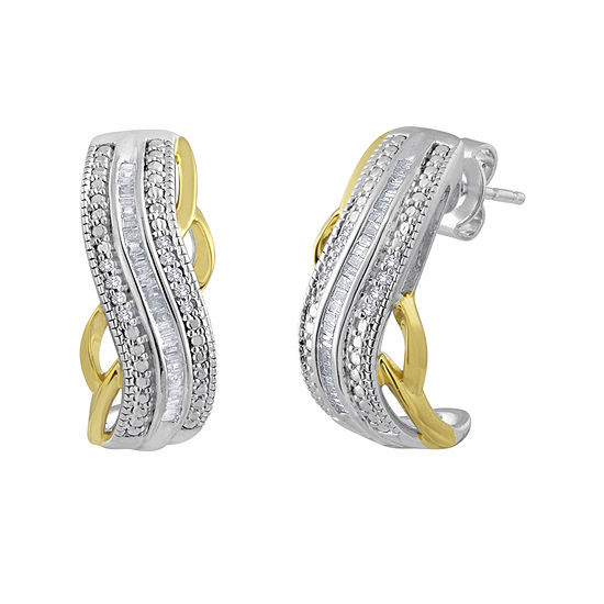 T W Diamond Hoop Earrings In Sterling Silver And 14k Yellow Gold