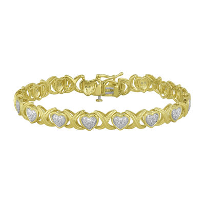 1/10 CT. T.W. Diamond Bracelet In 14K Yellow Gold Over Silver