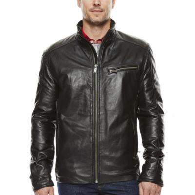 Vintage Leather Straight-Bottom Lambskin Leather Jacket