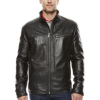 Vintage Leather Straight-Bottom Lambskin Men's Leather Jacket (Black)