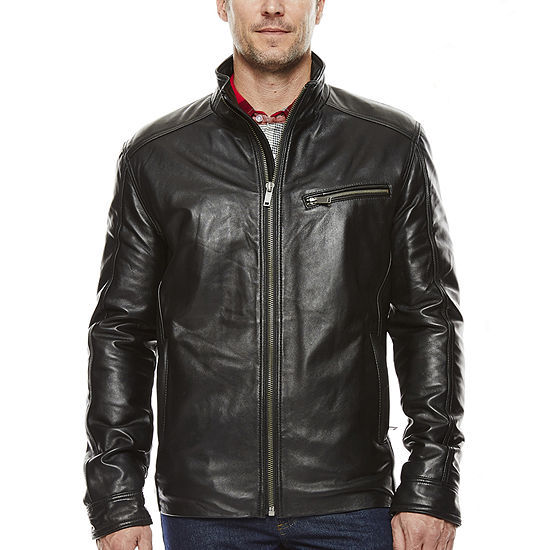 Vintage Leather Straight-Bottom Lambskin Leather Jacket