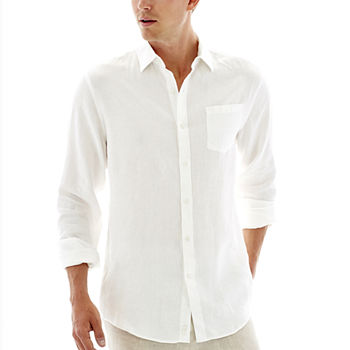Claiborne Mens Long Sleeve Linen Shirt